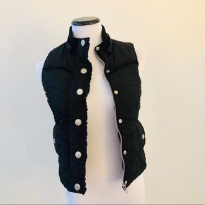Justice | girls | black puffer vest, silver zipper